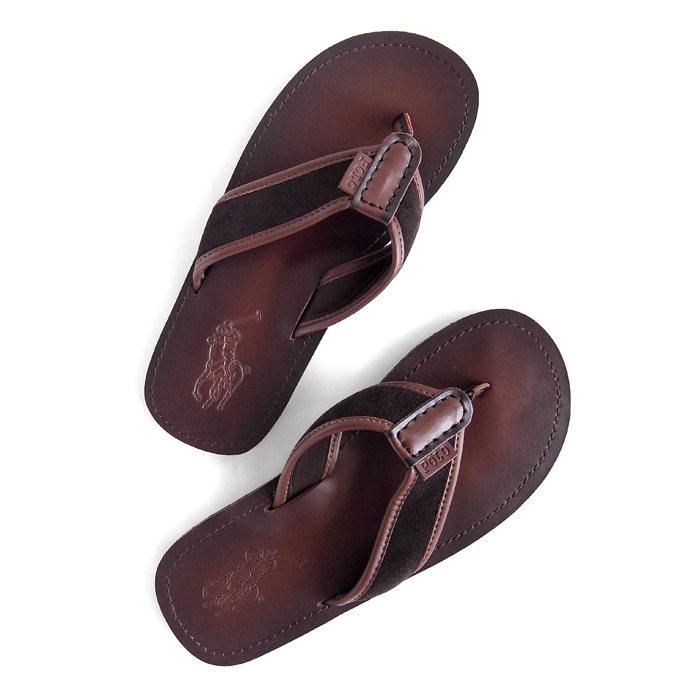 画像1: POLO RALPH LAUREN  Sullivan Leather Sandal  DBR (1)