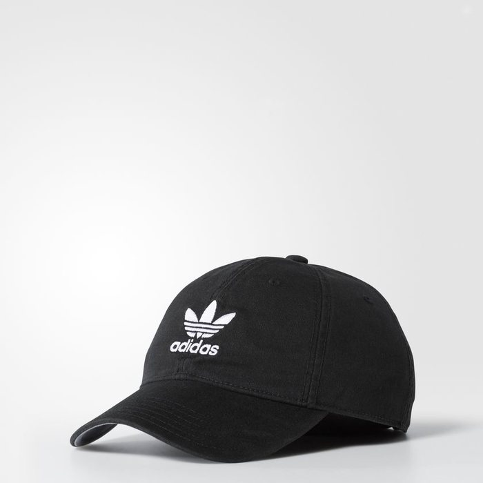 画像1: adidas Originals   relaxed strap-back cap BLACK (1)