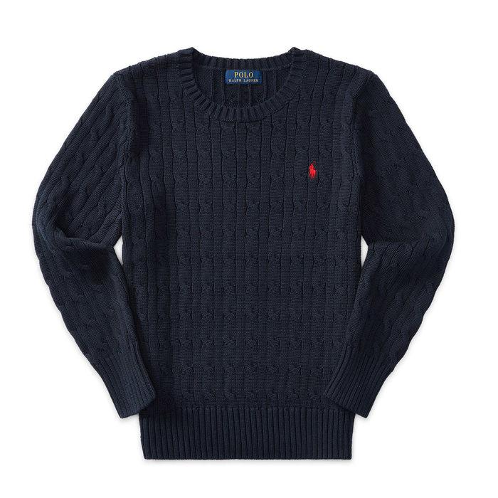 画像1: POLO RALPH LAUREN BOYS  cable-knit cotton sweater NAV (BOYS XL) (1)