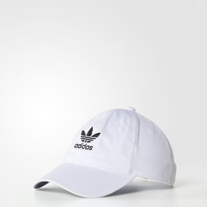 画像1: adidas Originals   relaxed strap-back cap WHITE (1)