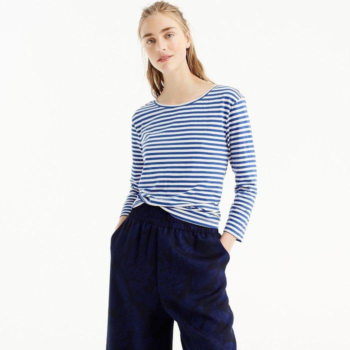 画像1: J.CREW WOMEN  twist-back long-sleeve T-shirt in stripes (XXL) (1)