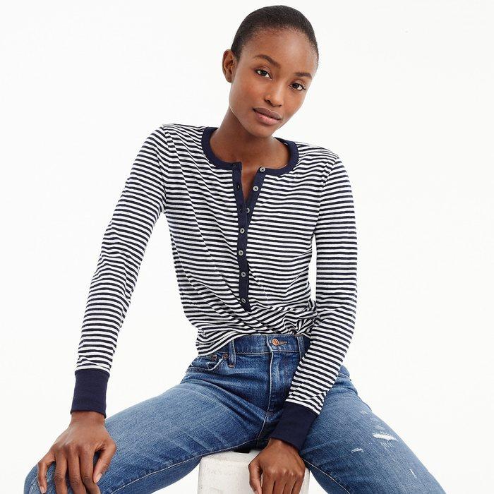 画像1: J.CREW WOMEN  striped henley t-shirt (1)