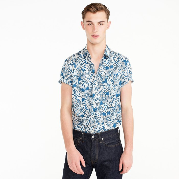 画像1: J.CREW  Short-sleeve stretch Secret Wash shirt in fern print (1)
