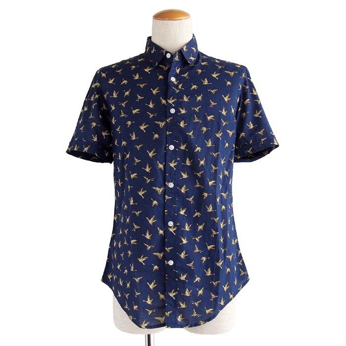 画像1: Denim & Flower  bird print shirts (L) (1)