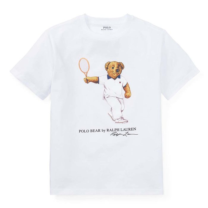 画像1: POLO RALPH LAUREN BOYS  tennis bear cotton t-shirt WH (M) (1)