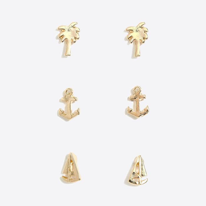 画像1: J.CREW WOMEN  Sailboat, anchor and palm tree stud earring set of three (1)