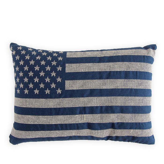 画像1: RALPH LAUREN HOME  cross stitch flag pillow 傷有り (1)