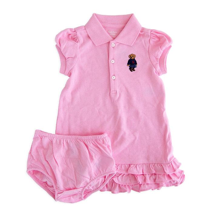 画像1: POLO RALPH LAUREN GIRLS  ruffled polo bear cotton dress 2piece PI (2歳) (1)