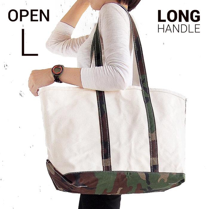 画像1: L.L.Bean boat and tote bag open-top (Irregular) long handle CAMO (1)