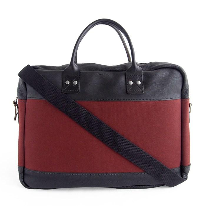 画像1: BILLYKIRK  padded briefcase auburn with black leather (訳あり) (1)