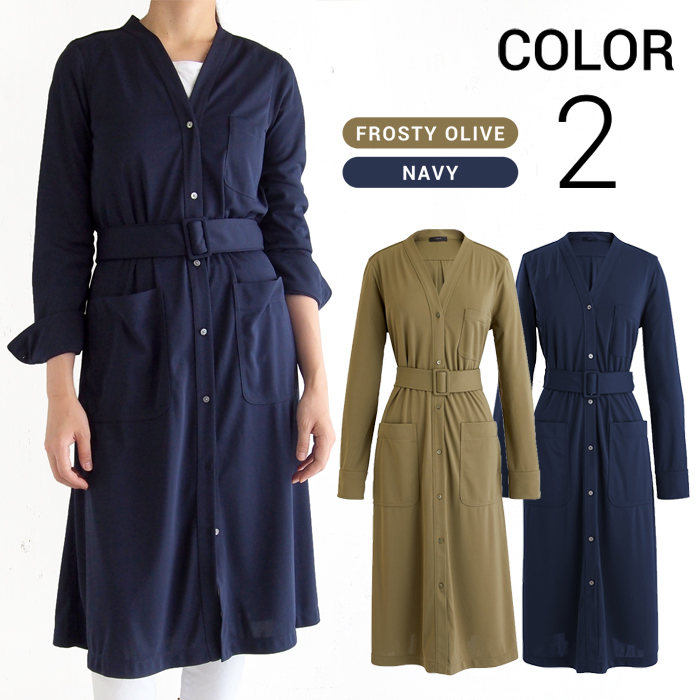 画像1: J.CREW WOMAN  long-sleeve belted knit dress 2color (S) (1)