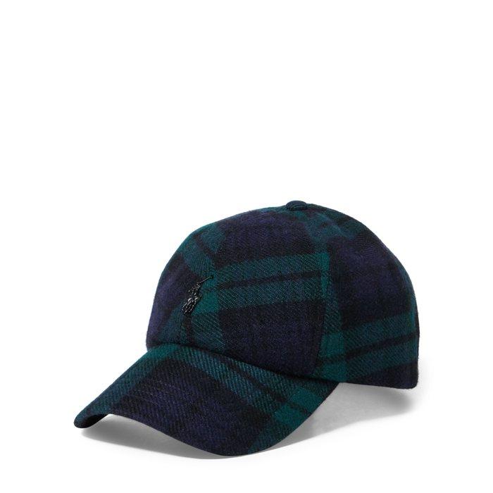 画像1: POLO RALPH LAUREN   black watch plaid wool-blend cap (1)
