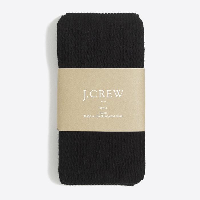 画像1: J.CREW WOMEN  ribbed tights BK (1)