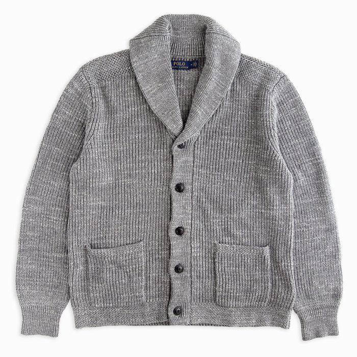 画像1: POLO RALPH LAUREN  shawl-collar cardigan GY (1)