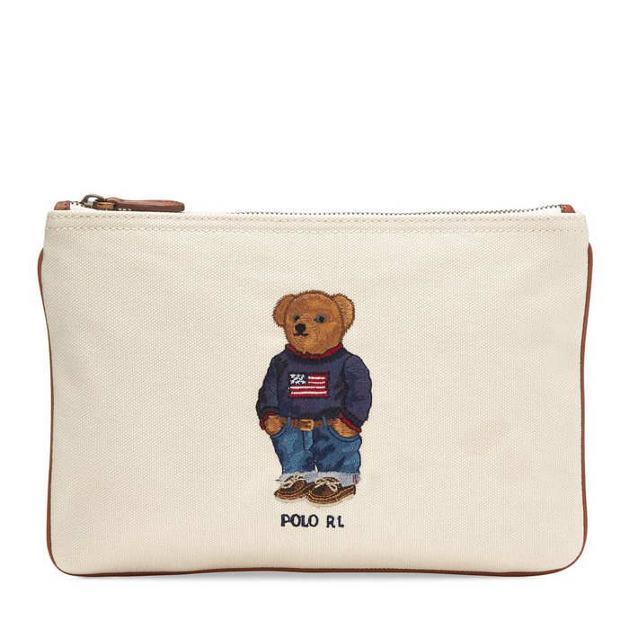 画像1: RALPH LAUREN  polo bear canvas zip pouch 2color (1)
