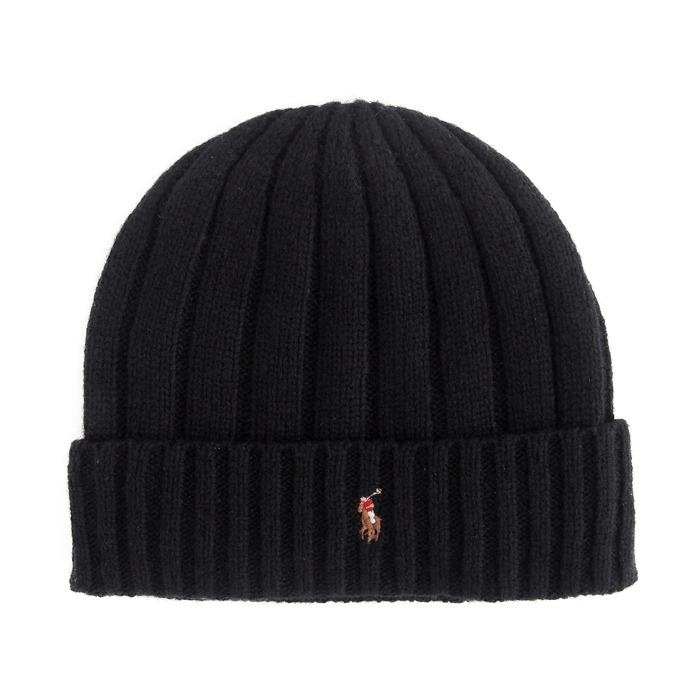 画像1: POLO RALPH LAUREN  signature knit cap BK (1)