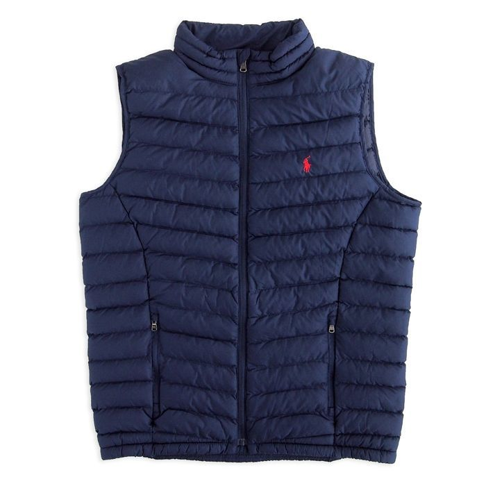 画像1: POLO RALPH LAUREN BOYS  quilted vest NAV (BOYS L,XL) (1)
