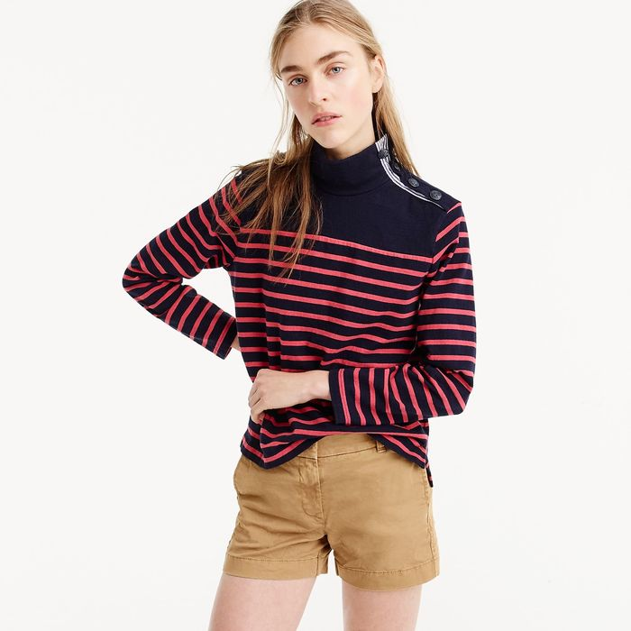 画像1: J.CREW WOMEN   striped button-shoulder turtleneck 2color (1)
