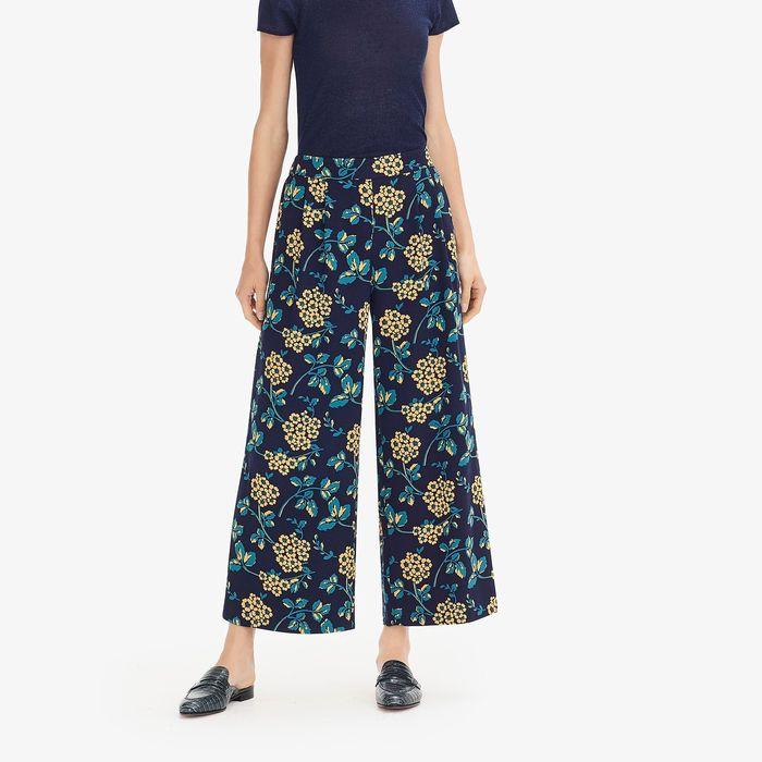 画像1: J.CREW WOMEN   wide-leg cropped floral pant (0) (1)