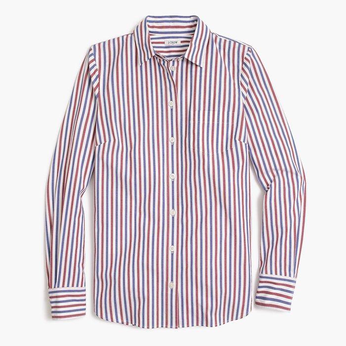 画像1: J.CREW WOMEN   washed shirt in red and blue stripes (1)