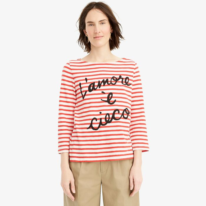 "画像1: J.CREW WOMAN  ""L'amore è cieco"" striped boatneck T-shirt (S) (1)"
