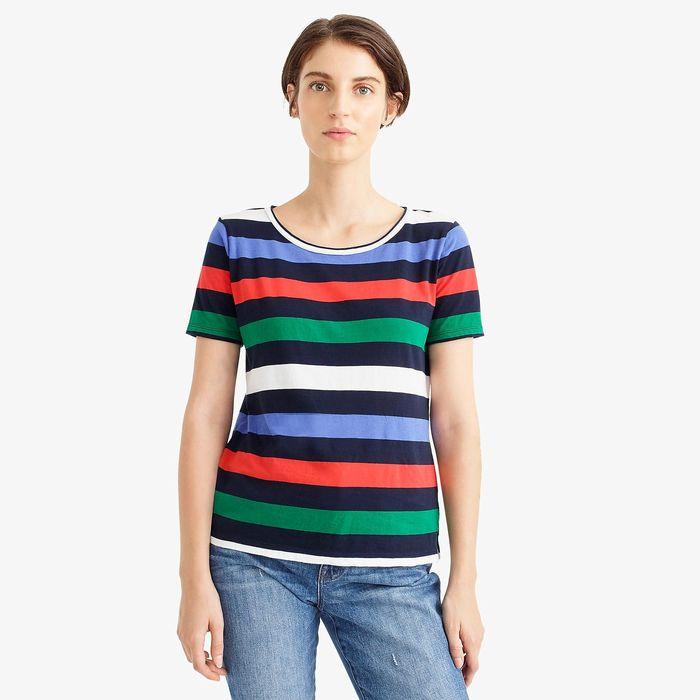 画像1: J.CREW WOMEN  Supersoft Supima raw-edge t-shirt in stripes (1)