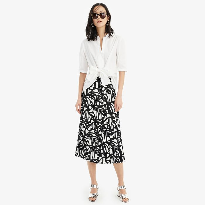 画像1: J.CREW WOMEN  pleated midi skirt in black-and-white paintbrush print (0) (1)