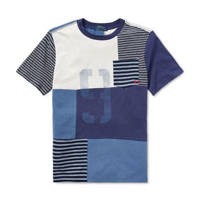 画像1: POLO RALPH LAUREN BOYS  patchwork cotton t-Shirt (BOYS L-XL) (1)