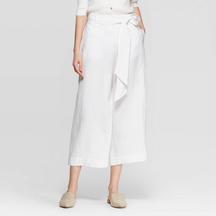 画像1: A New Day by target  regular fit mid-rise linen crop pants (1)