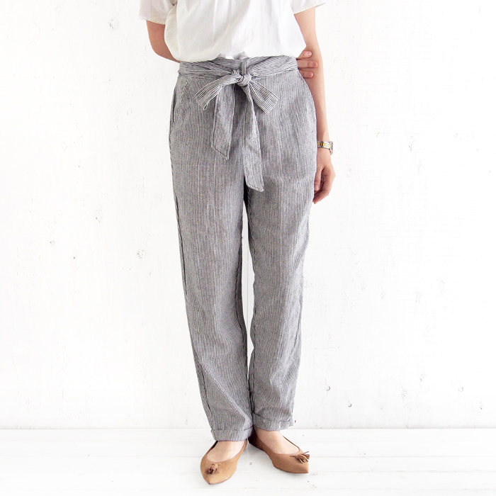 画像1: MAX STUDIO  striped linen blend pants (S) (1)