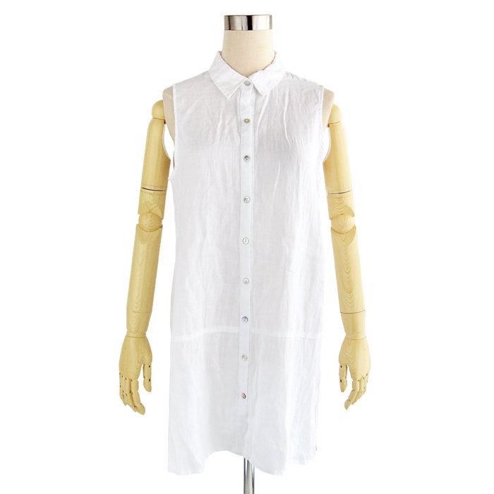 画像1: Elie Tahari  sleeveless linen tunic 2color (S) (1)