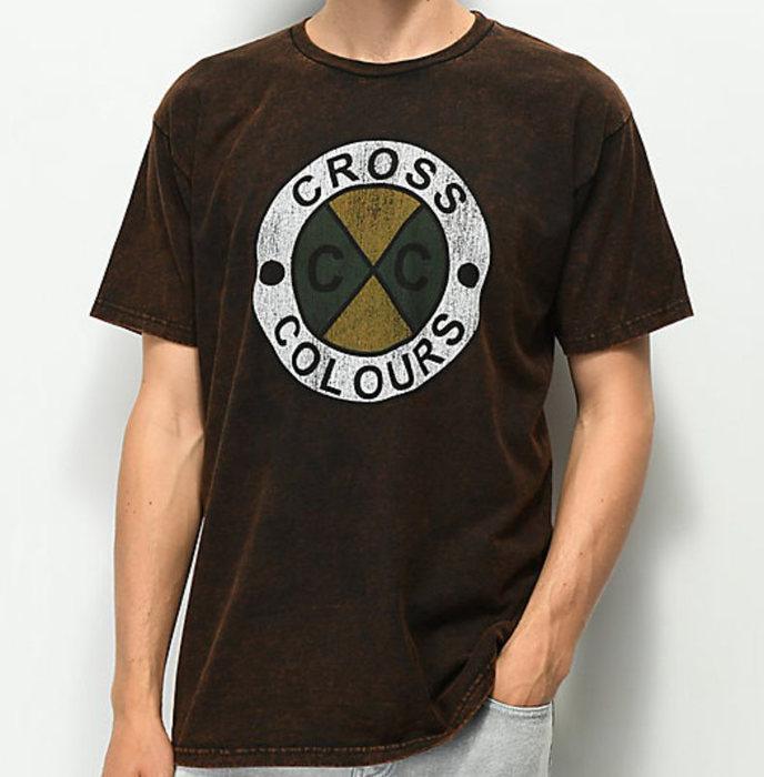 画像1: CROSS COLOURS   Acid Wash Logo T-Shirt (1)
