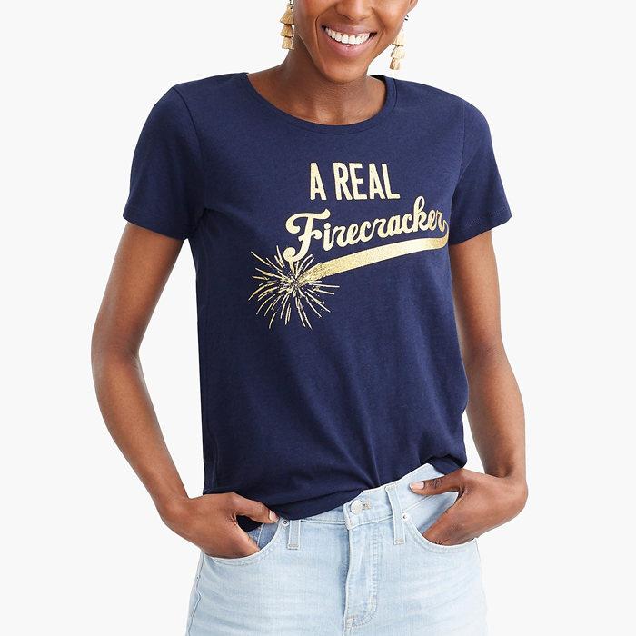 画像1: J.CREW WOMAN  firecracker t-shirt (M) (1)