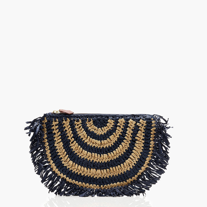 画像1: J.CREW WOMAN  raffia woven zip-top clutch (1)