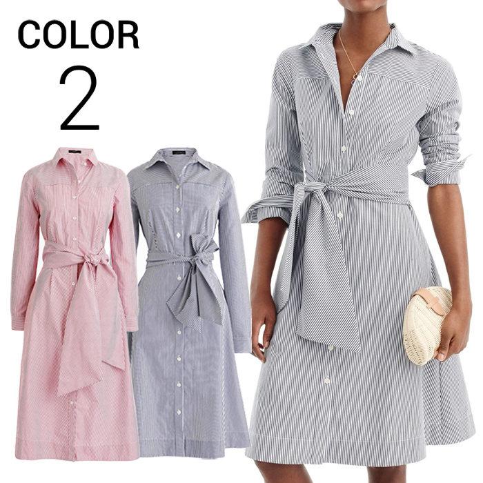 画像1: J.CREW WOMAN  tie-waist shirtdress in stripe 2color (2) (1)