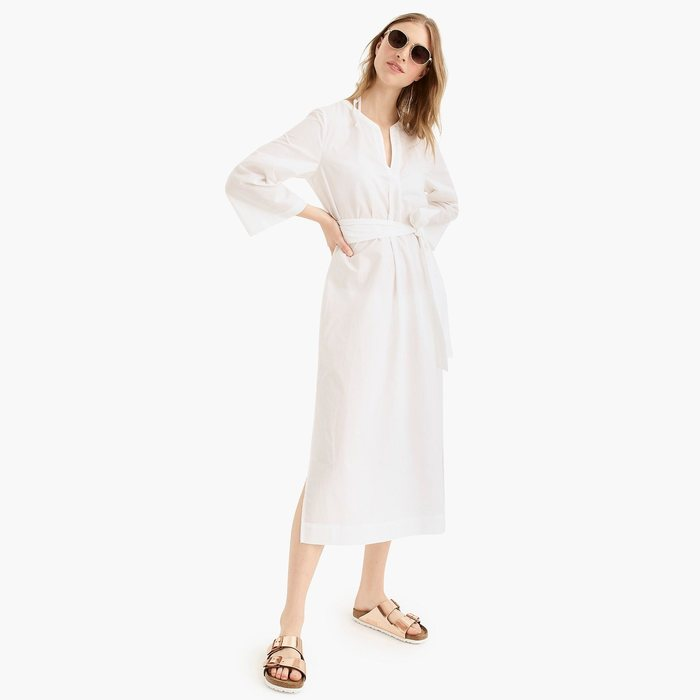 画像1: J.CREW WOMAN  tie-waist beach tunic in cotton poplin (XS / S) (1)