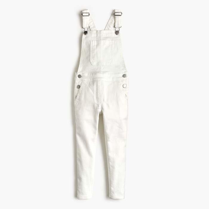 画像1: crewcuts  girls' stretch denim white overall (8歳) (1)