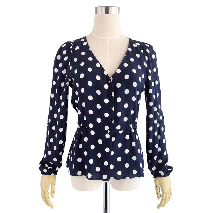 画像1: J.CREW WOMAN  Long-sleeve peplum top in crepe polka dot NAV (1)