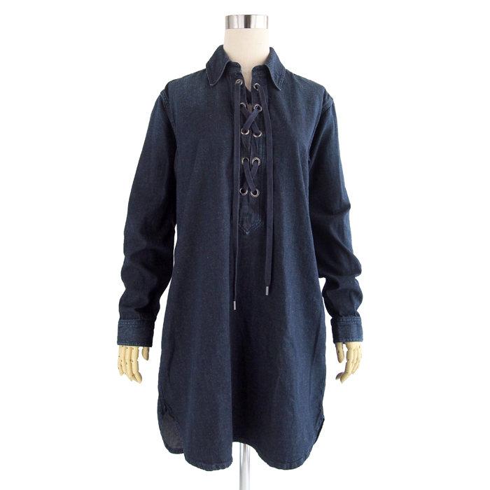 画像1: POLO RALPH LAUREN WOMEN  denim lace-up dress (M) (1)