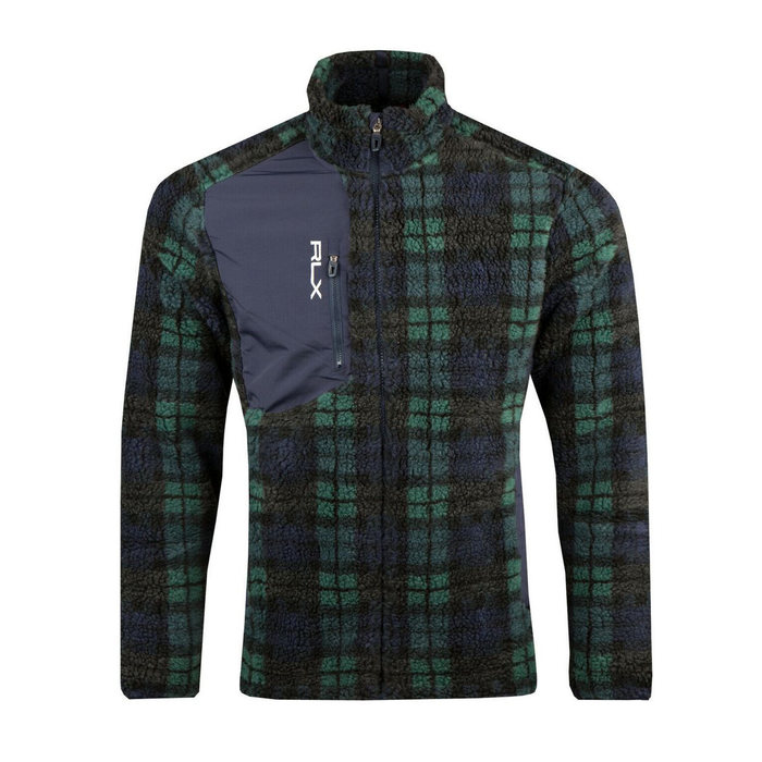 画像1: RALPH LAUREN RLX   black watch sherpa fleece jacket (XL) (1)