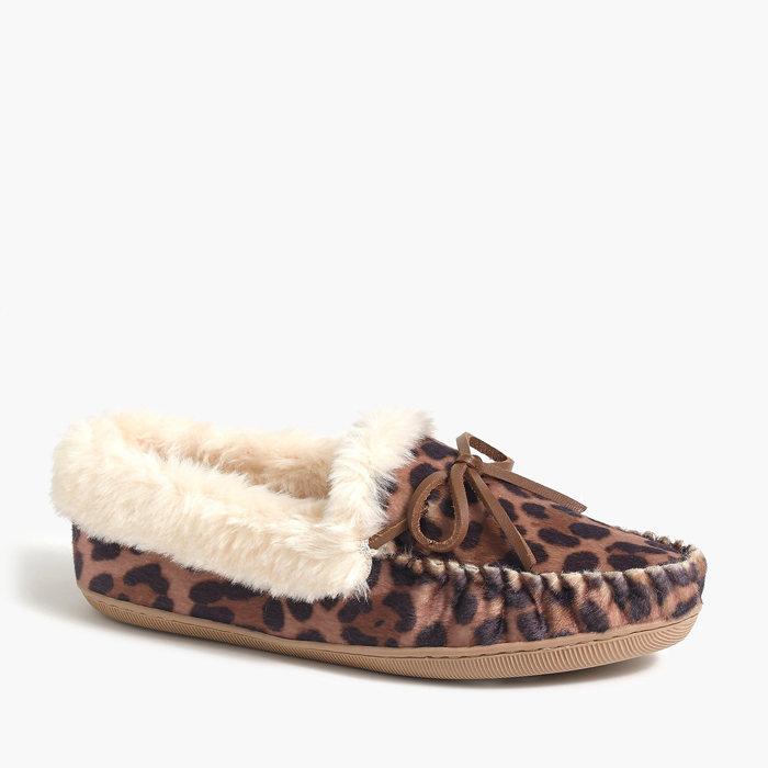 画像1: J.CREW WOMEN   calf hair moccasin slippers (1)