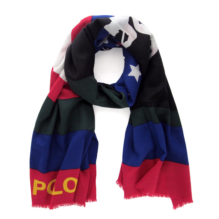 画像1: POLO RALPH LAUREN  downhill color block wool scarf (1)