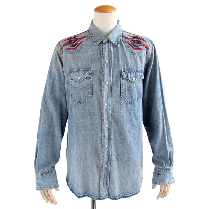 画像1: POLO RALPH LAUREN  damaged western denim shirt (L) (1)