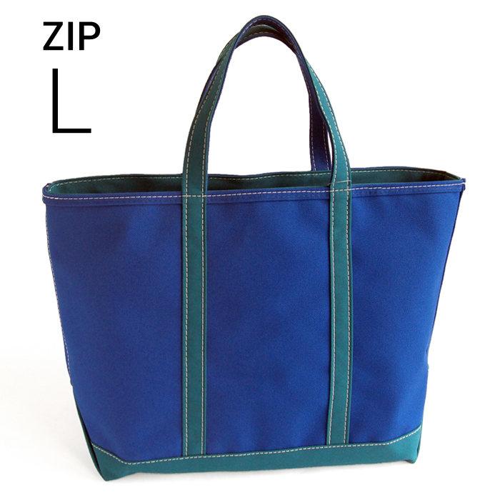 画像1: L.L.Bean  boat and tote bag Zip-Top (Irregular) regular handle CUSTOM BLUE GREEN (L) (1)