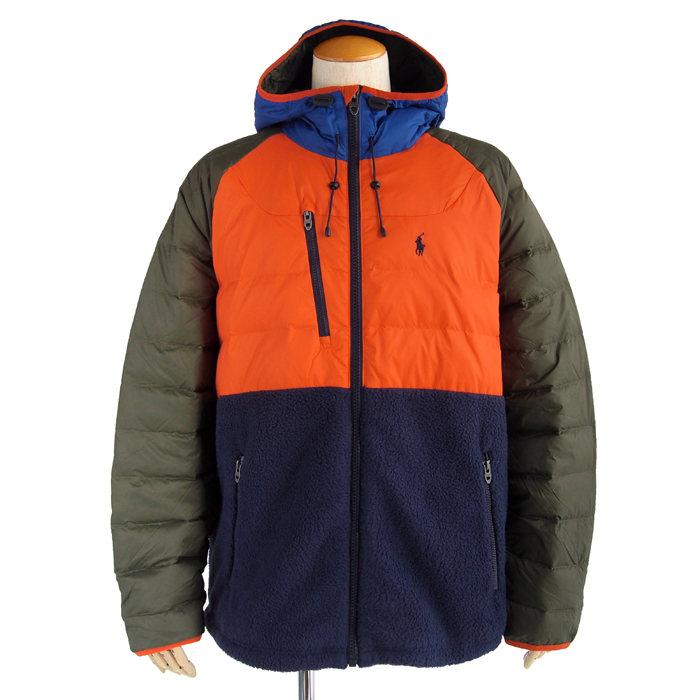 画像1: POLO RALPH LAUREN  color block down hoodie (1)