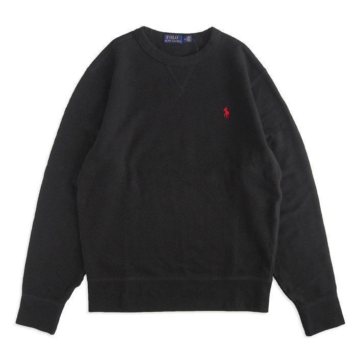 画像1: POLO RALPH LAUREN  fleece crewneck sweatshirt BK (1)