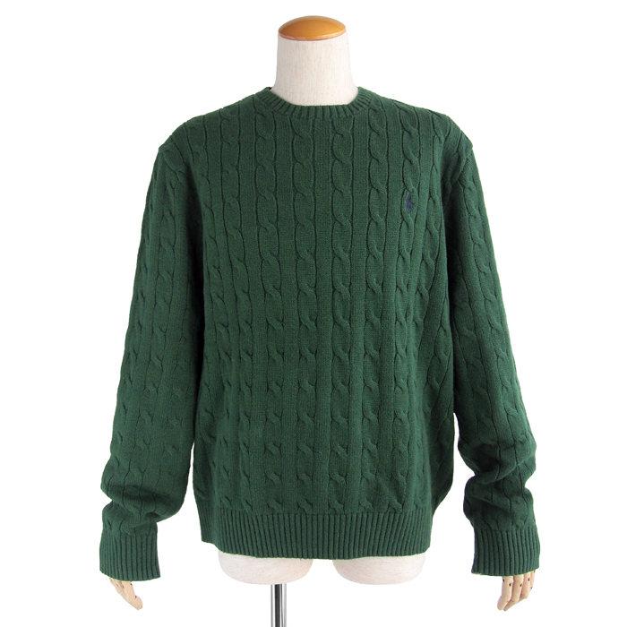 画像1: POLO RALPH LAUREN  cable-knit cotton sweater GR  (1)