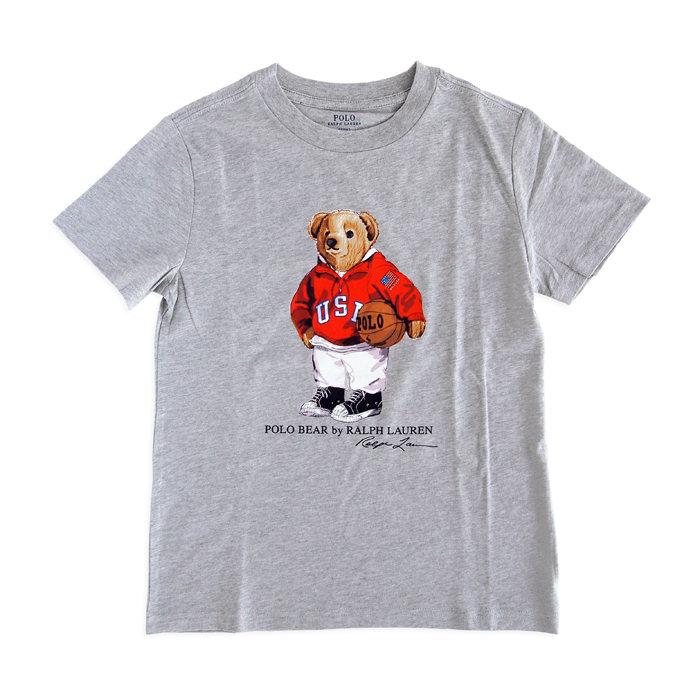 画像1: POLO RALPH LAUREN KIDS  basketball bear cotton t-shirt GY (7歳) (1)