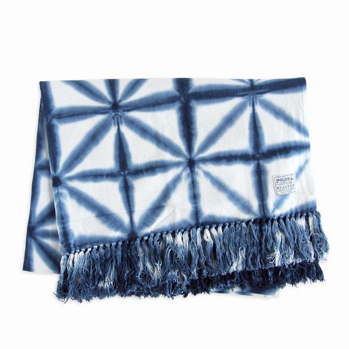 画像1: RALPH LAUREN HOME   tie dye cotton blanket 127×178cm (1)
