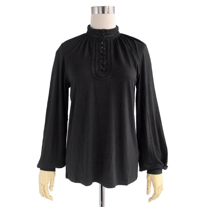 画像1: POLO RALPH LAUREN WOMEN  jersey mockneck blouse BLACK (S) (1)